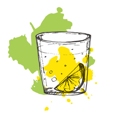 black and white image: Sketched cocktail on splashed background. Vector illustration of alcohol drink with lime segment.