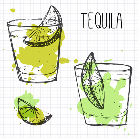 aperitif: Tequila shots with lime segments. Sketch and watercolor ilustration