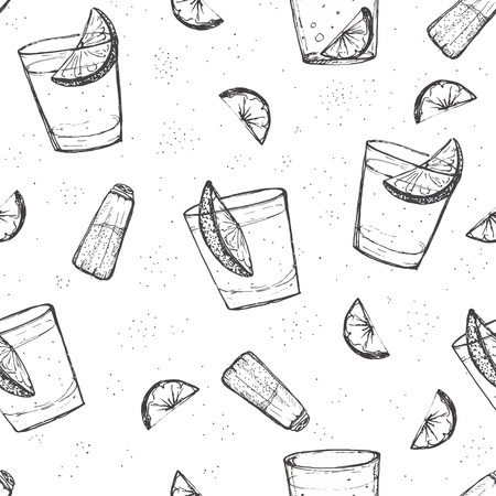 tonic: Seamless  short drinks vector pattern. Sketched tequila with lime and salt Illustration