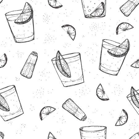 Vector patrón Seamless bebidas cortas. Tequila bosquejado con limón y sal