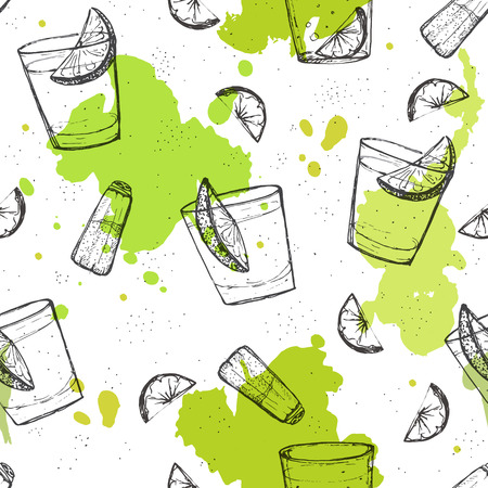 Colored seamless vector pattern of tequila shots with splashes of paint