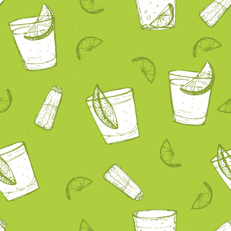 shots alcohol: Seamless alcohol drinks vector pattern. Sketched tequila with lime and salt, green background.