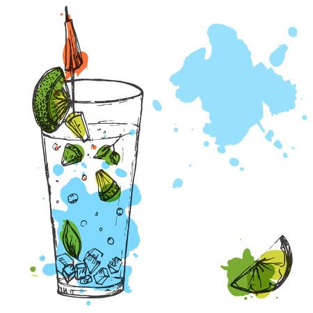 Blauw longdrink met limoen en munt. Vector hand getrokken illustratie