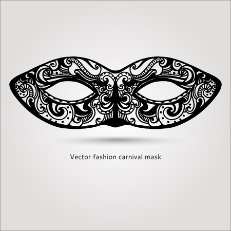 black lace: Beautiful fashion vector carnaval mask hand drawn illustration