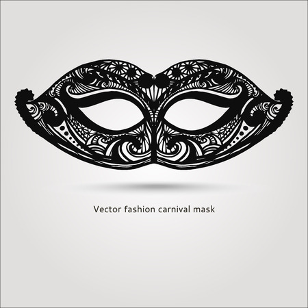 Beautiful fashion vector carnaval mask hand drawn illustration Vector