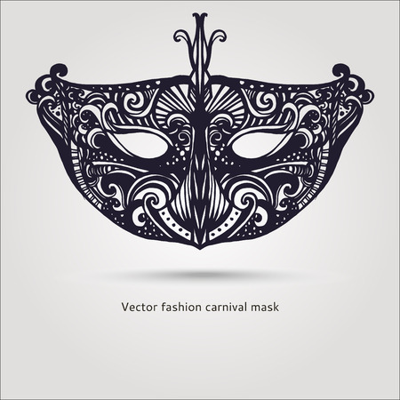 carnaval: Beautiful fashion vector carnaval mask hand drawn illustration
