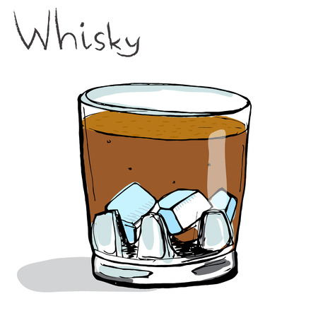 whisky glass: Glass of whisky with ice vector illustration, hand-drawn style.