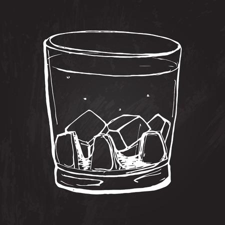 위스키의 유리 칠판 배경에 그림을 스케치. 일러스트