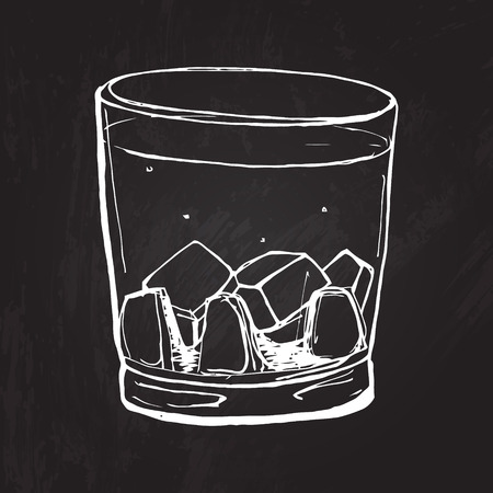 Glass of whisky sketched illustration at the blackboard background. Ilustracja