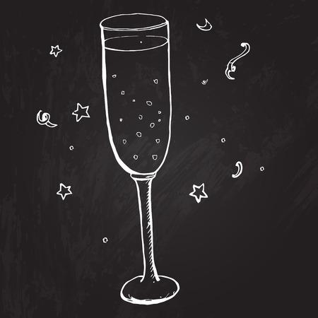 Vector sketched illustration at the blackboard background.