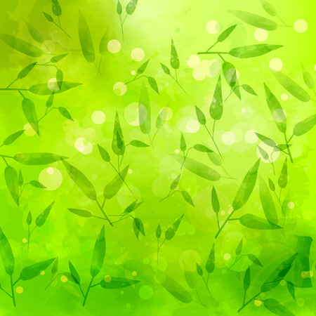 swashes: Green background with different leaves pattern.  Illustration