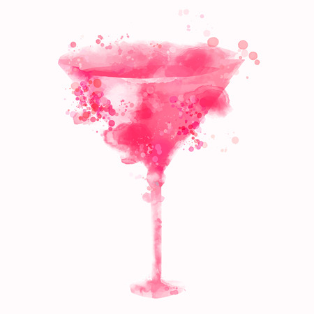 Pink cosmopolitan alcohol cocktail illustration with watercolor splashes