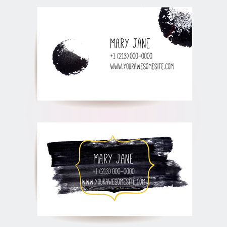 Set of creative business card templates with minimalistic vector design. Abstract black ink brush strokes and circle traces. Illustration