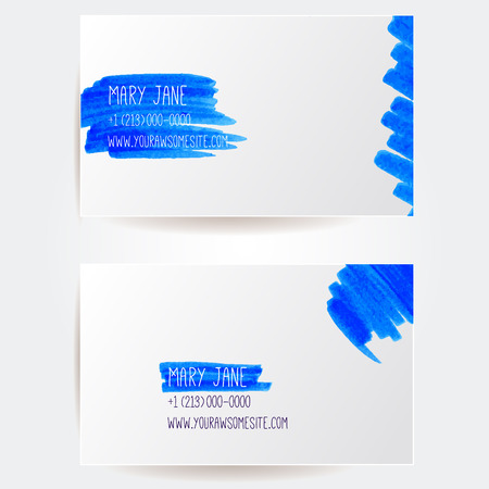 highlight: Set of creative business card templates with artistic vector design. Blue highlight marker strokes.