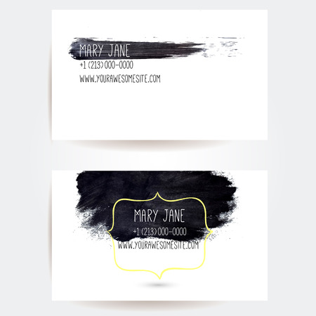 Set of creative business card templates with minimalistic vector design. Abstract black ink brush strokes. Illustration