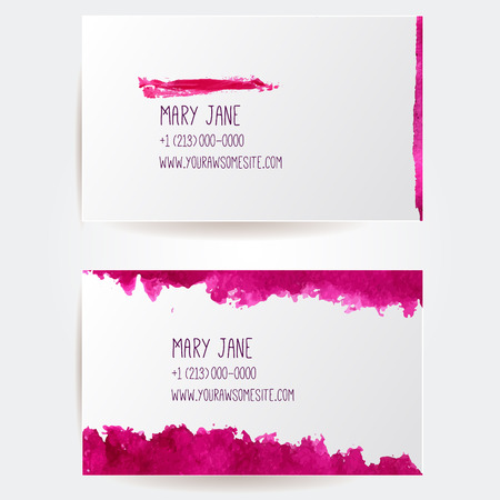 nail polish: Set of creative business card templates with artistic vector design. Red cosmetic abstract paint strokes.