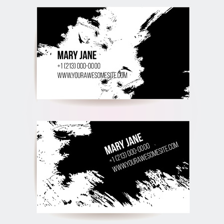 Set of creative business card templates with artistic vector design. Abstract black ink grunge scribble texture. Illustration