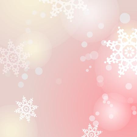 Winter roze achtergrond met sneeuwvlokken en verlichting