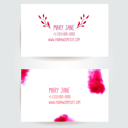 swashes: Set of creative business card templates with artistic vector design. Branch with leaves and abstract watercolor swashes