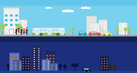 Banners with day and night city life. Vector flat illustration with people, bus, cars and trees. Vector