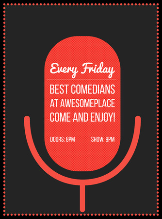 night club: Stand up comedy poster. Illustrazione vettoriale della silhouette del microfono rosso con il testo. Vettoriali