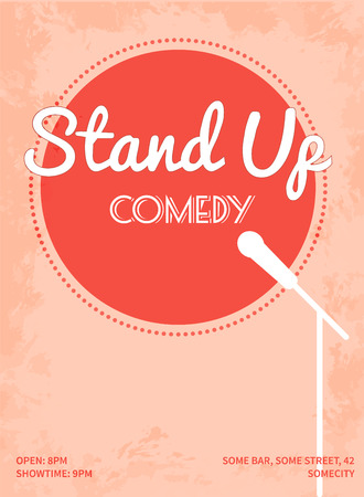 microfono antiguo: Ponte de pie cartel comedia. Retro ilustración vectorial de estilo con el círculo rosa, silueta blanca de micrófono y texto.
