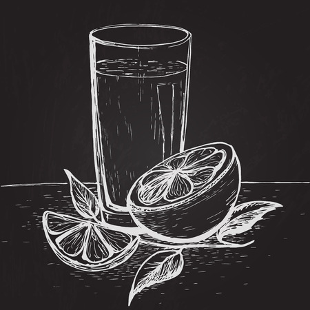 Hand drawn juice with slices of orange and leaves on the blackboard