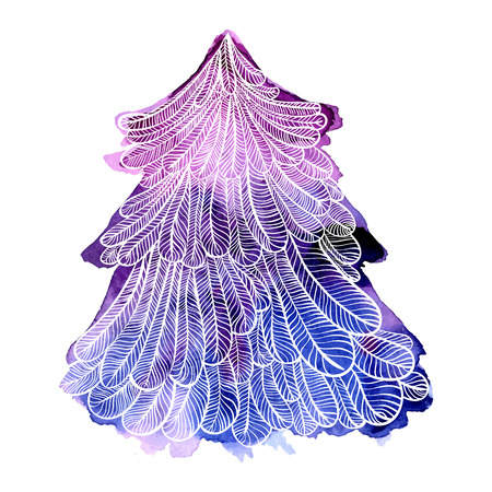 spruce tree: illustration of violet spruce tree with hand drawn ornate white outline. Vector design element isolated on white background. Illustration
