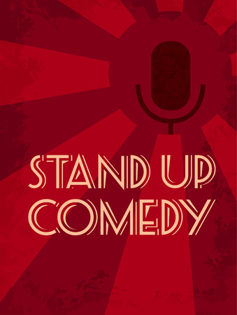 Stand up comedy event poster. Retro vector illustration of dark silhouette of microphone at red starburst textured background.