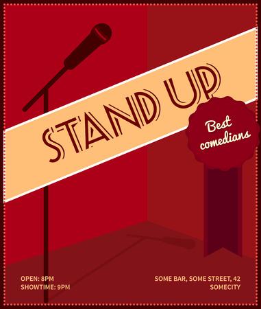 mic: Stand up comedy poster. Retro stile illustrazione vettoriale con silhouette nera di microfono, distintivo migliori comici e testo. Vettoriali