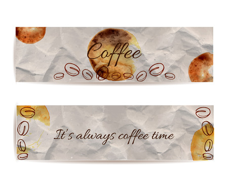 Set of banners with text coffee and its always coffee time. Texture of knead craft paper with brown stains and spots. Hand drawn illustration of coffee beans. Vector