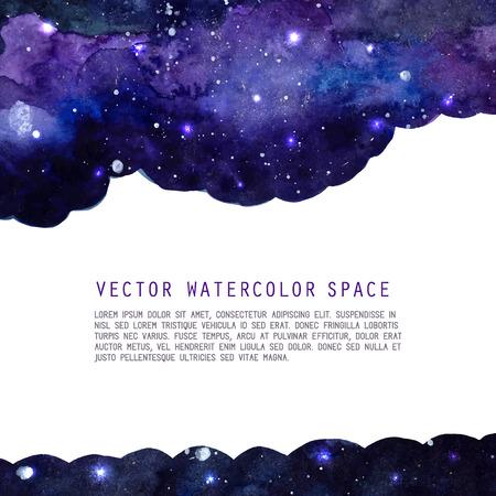 Space akvarel pozadí s hvězdami. Vektorové rozložení s copyspace.
