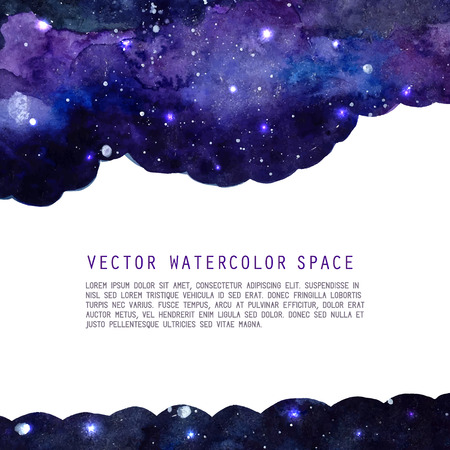 Space watercolor background with stars. Vector layout with copyspace.