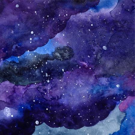 Espace texture avec des étoiles incandescentes. Nuit ciel étoilé avec des coups de peinture et de paraphes. Vector illustration. Banque d'images - 34642757
