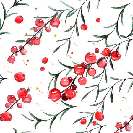rosemary: Pattern with red currants and rosemary. Vector watercolor tiled background.