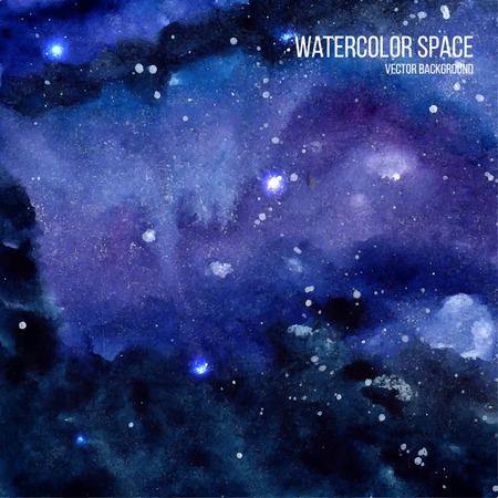 Watercolor space texture with glowing stars. Cosmic background with paint strokes and swashes. Vector illustration.
