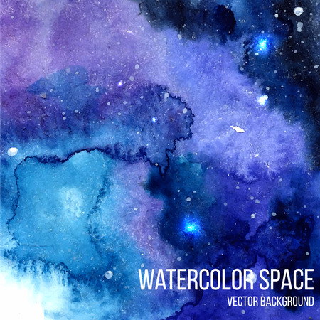 Watercolor night sky background with glowing stars. Space texture with paint strokes and swashes. Vector illustration.
