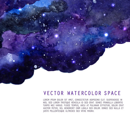 space for text: Watercolor night sky background with stars. Vector cosmic layout with space for text.