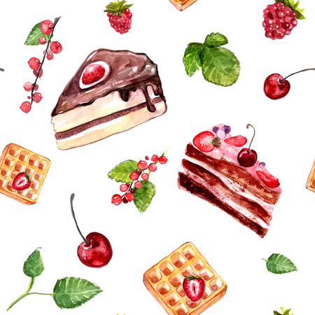 Watercolor desserts seamless pattern with cakes, red currant and cherries. Food background with cafe assortment. Ilustracja