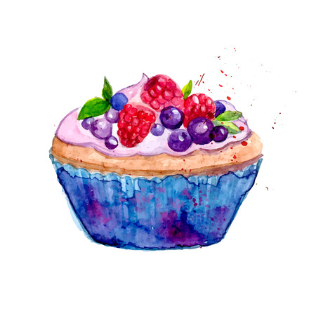 Watercolor tartlet illustration. Sweet vector dessert in blue package with berries: raspberry, blueberry and mint.