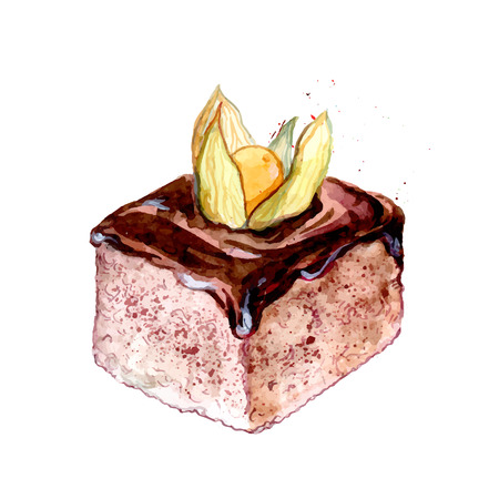 sweet pastries: Slice of cake with chocolate icing decorated with orange ground cherry. Sweet pastry vector watercolor illustration.