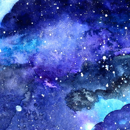 Space texture with glowing stars. Night starry sky with paint strokes and swashes. Vector illustration.