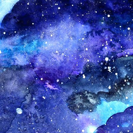 Espace texture avec des étoiles incandescentes. Nuit ciel étoilé avec des coups de peinture et de paraphes. Vector illustration. Banque d'images - 34642875