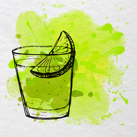 Tequila shot on paper with green watercolor splash. Vector illustration.  イラスト・ベクター素材