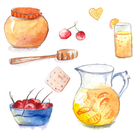 Honey pot with dipper, jug and glass of orange lemonade, cookie and bowl with cherries. Set of hand drawn watercolor vector elements. Vector