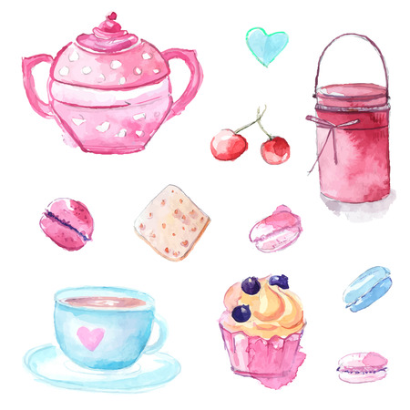 Illustrations of tea pot, cup, cupcake pastry and jar with jam. Set of hand drawn watercolor vector elements. Illustration