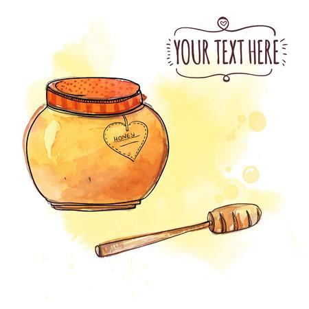 pot miel: pot de miel avec louche en bois. Vector illustration d'aquarelle Illustration