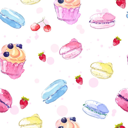 Tiled pattern with hand painted watercolor cupcake, macaroons and strawberry. Vector background.