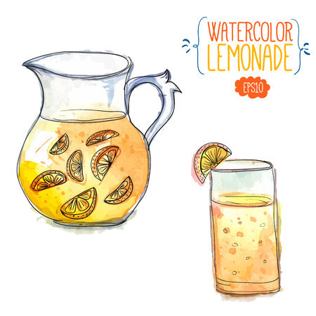 Pitcher of lemonade with slices of citrus and glass filled with orange juice. Vector watercolor illustration. Vector