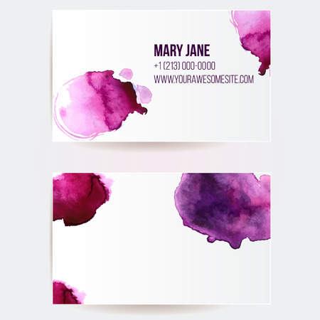 Double sided business card template with pink and violet watercolor paint swashes. Artistic vector design. Illustration